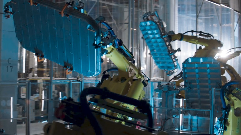 Robot assembly in a factory.