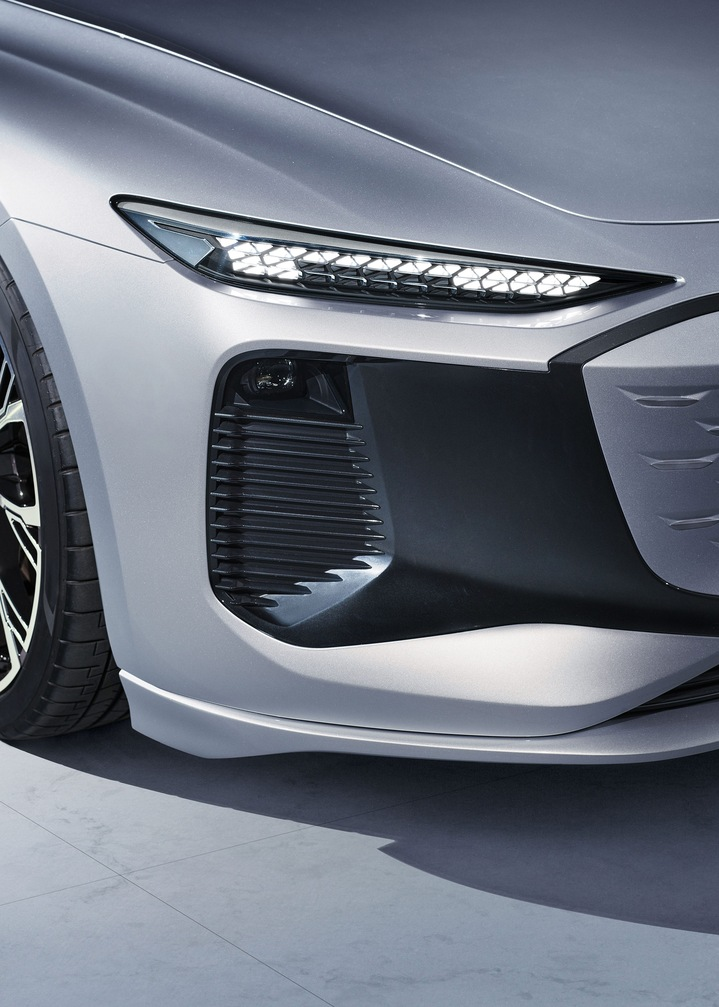 Close-up of the concept car's air curtain intakes.