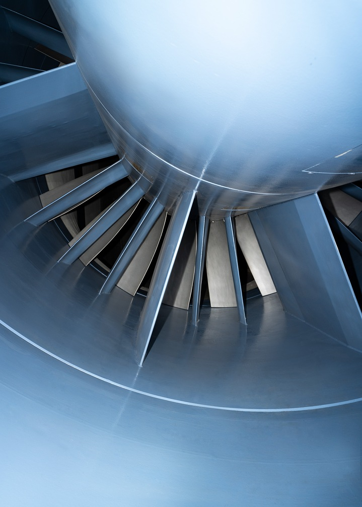 Close-up of the fan of the wind tunnel.